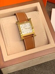 Hermes Heure H Yellow-gold Plated Steel Watch 26 X 26mm Brand New Authentic