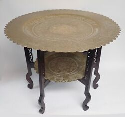 Antique Chinese Brass Two-tier Table With Carved Wood Folding Legs