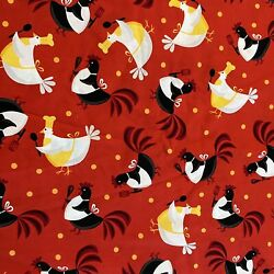 Metro Market Rooster In Kitchen Fabric Amy Biggers For Robert Kaufman Red