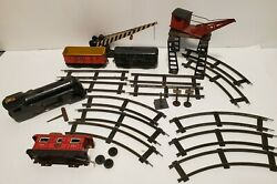 Marx New York Central Wind Up Train Set Partial Tracks Crane Crossing Gate More