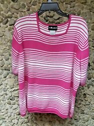 Sag Harbor Woman's Pink And White Striped Short Sleeve Top Size 3 X