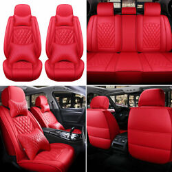 Full Set Red Pu Leather Car Seat Covers 5-seats Cushion Protector Universal Suv