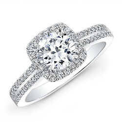 Solide 950 Platine Anneaux 1.55 Carat Rond Vrai Diamant Fianandccedilailles Taille M N