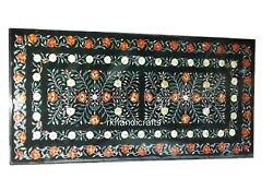 30 X 72 Inches Marble Dining Table Top With Gemstones Inlay Work Hotel Table