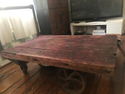 Antique Industrial Rolling Wooden Cart With Cast Iron Wheels