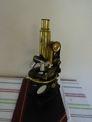 Microscope Carl Zeiss Germany Antique Brass With 4 Objectives Optics As Is Lob