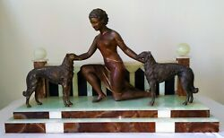 Woman And Dogs. Calamine Onix Marble. Signed. Ugo Cipriani. Italy. Circa 1920