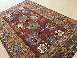 6andrsquo.9andrdquo X 10andrsquo.0andrdquo Rust Light Blue Geometric Hand Knotted Oriental Area Rug Wool