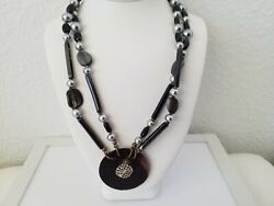 💎💎 Vintage Estate Jewelry Signed Miriam Haskell Black Shell Pendant Necklace