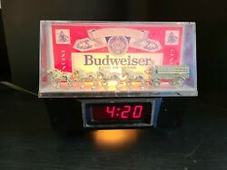 Vintage Budweiser Clydesdale Digital Light Up Bar Clock Working With Stand