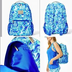 New Lilly Pulitzer Bahia Backpack Sea Glass Aqua Seeing Double New In Plastic