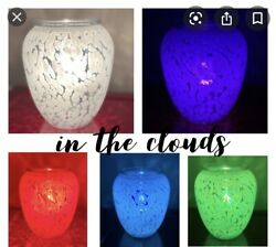Scentsy In the Clouds Wax Warmer Glass add A Colored Bulb To Change Look New