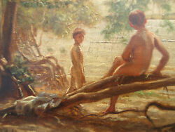 Exceptional Antique 1868 Oil Painting Nude Boys Holmfeld Europe Canada American
