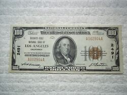 1929 100 Los Angeles California Ca National Currency T1 2491   Pmg 55 Au