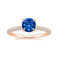 1.70 Ct Natural Diamond Wedding Blue Sapphire Ring Solid 14k Rose Gold Size 8 9