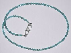 925 Sterling Silver Sky Apatite Stone 3 Mm Faceted Beads 22 Strand Necklace Yh2