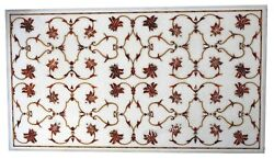 30 X 60 Inches Marble Coffee Table Top Inlay Dining Table With Carnelian Stone