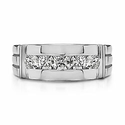 Natural 0.25 Ct Diamond Engagement Band Solid 14k White Gold Menand039s Ring Size R