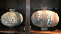 Two Large Antique Chinese Painted Silkworm Shaped Clay Pottery Vaseshan Dynasty