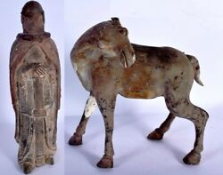 An Antique Chinese Clay Pottery Horse And A Figure, Han Dynasty 202 Bc–220 Ad