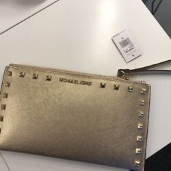 NWT Michael Kors Small Gold Studded Michael Kors Clutch Bag $49.99