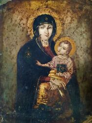 Virgin With Child. Icon. Following Byzantine Models. Oil On Copper. Europe.xixth