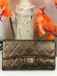 Classic Metallic Silver Quilted Reissue Flap Wallet W. Inner Coin Pocket