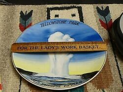 Vintage Yellowstone National Park Hand Painted Plate/plaque Old Faithful