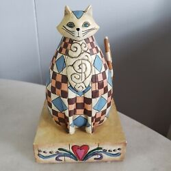 Jim Wood Carved Wood Cat Abigail Blue Brown Check 2003 Collectible Figurine