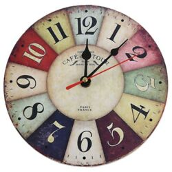 Timelike Wooden Wall Clock Modern Design Vintage Rustic Shabby Chic Home Office