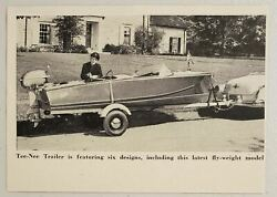 1954 Magazine Photo Tee-nee Boat Trailers Fly-weight Model