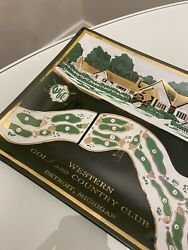 Western Golf And Country Club Detroit Michigan 1960and039s Antique Glass Dish Tray