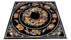 36 Inches Marble Coffee Table Top Hand Inlaid Dining Table Stone With Decent Art