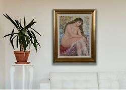 Portrait Of A Naked Girl Portrait Painting Oil Painting Vintage Images