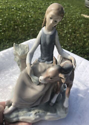 Lladro Girl With Calf Porcelain Figurine 4813 Retired 1981 Spain Mint