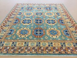 8andrsquo X 10andrsquo Light Blue Rust Geometric All-over Hand Knotted Oriental Area Rug