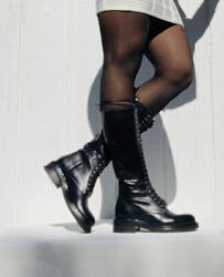 Frye Women Sz 8.5 Alice Tall Black Combat Lace Up Military Boots Nwb 649