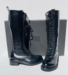 Frye Women Sz 8 Alice Tall Black Combat Lace Up Military Boots Nwb 649