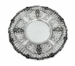 Fine 925 Sterling Silver Handmade Leaf Embossed Applique Ornate Round Plate Tray