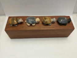4 Asian Vintage Carved Stone Turtles 1 Inch In Length On Wood Base For Display