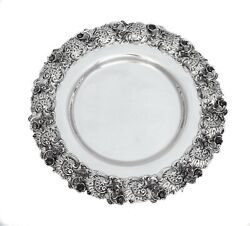 925 Sterling Silver Antique Hand Chased Floral Cut Out Rim Monogrammed Tray