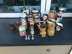 Lot Of 26+ Vintage Like Royal Doulton Toby Character Mugs Jugs Pre-owned