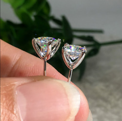 4ct Round Cut Lab Diamond Solitaire Stud Earrings 14k White Gold Finish