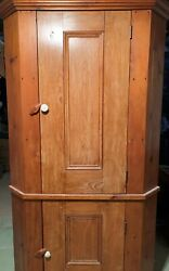 Vintage 1900and039s Early Antique Primitive Pine Two-door Farmhouse Corner Cupboard