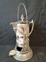Baccarat Hand Painted Opaline Signed Simpson Hall And Miller Tilting Water Pitcher