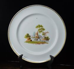 Gardner Moscow - Russian Porcelain Plate With Landscape C. 1810