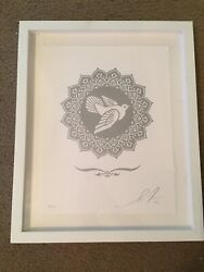 Silver Dove Letterpress Print By Shepard Fairey Signed Obey 28/100 Frame Rare