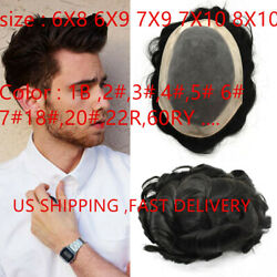 Fine Mono Mens Toupee Poly Skin 100 Indian Remy Wig Human Hair System Hairpiece