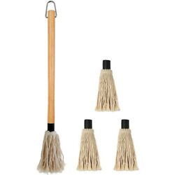18 Inches Large Bbq Basting Mop With 3 Extra Replacement Heads For Grilling And