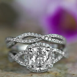 Lab Created 3.00 Ct Diamond Engagement Band Solid 14k White Gold Cushion Size N